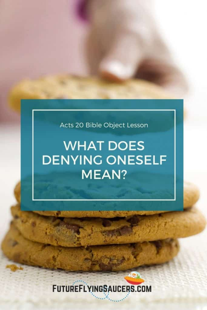 Title image for Acts 20 Bible Object Lesson three cookies stacked and a hand is taking a fourth cookie away