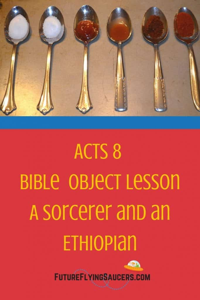 title image for Acts 8 lesson including 6 spoons filled with a mystery substance.