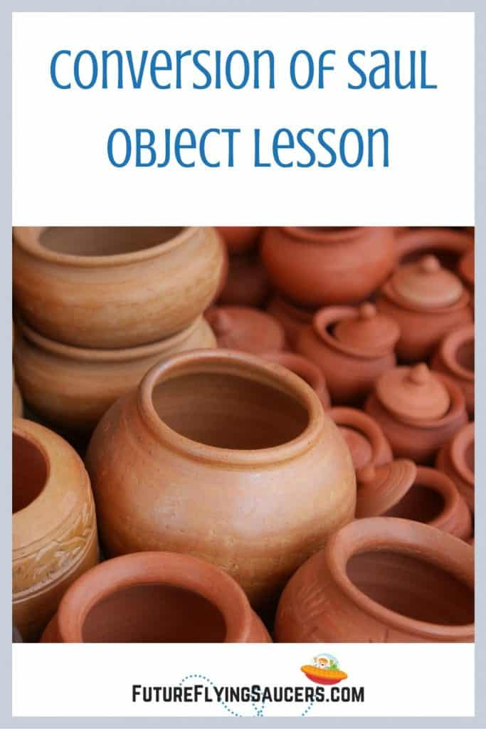 image for title Conversion of Saul object lesson Acts 9 includes many clay pots of different sizes