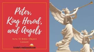 title image for Acts 12 bible lesson with angel statues blowing gold trumpets