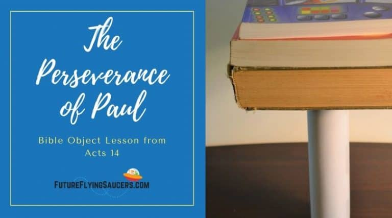 Title image The Perseverance of Paul and an image of a stack of three books on the end of a tube standing on a table.
