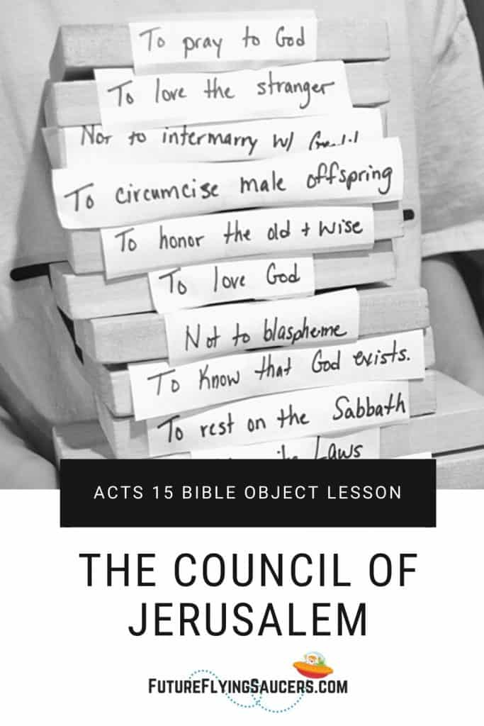 Title image for bible lesson: The Council of Jerusalem; image of child holding stack of blocks with words written on them