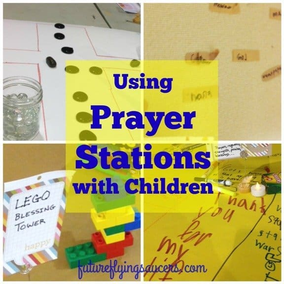 "How do you help kids to pray more than rote words or ""God bless my puppy""? Prayer Stations are helpful to show kids ways to pray and to keep them focused."