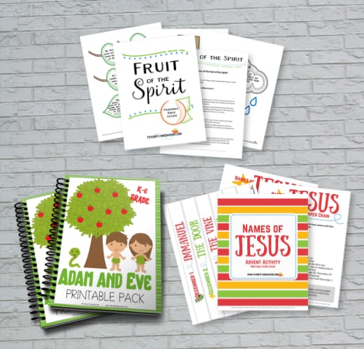 image of object lesson printables in front of a brick wall